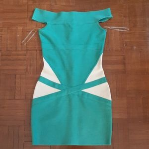 Guess by Marciano Off the Shoulder Bandage Dress